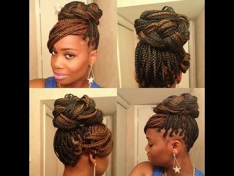 Updo with Bangs   21 Awesome Ways To Style Your Box Braids And Locs