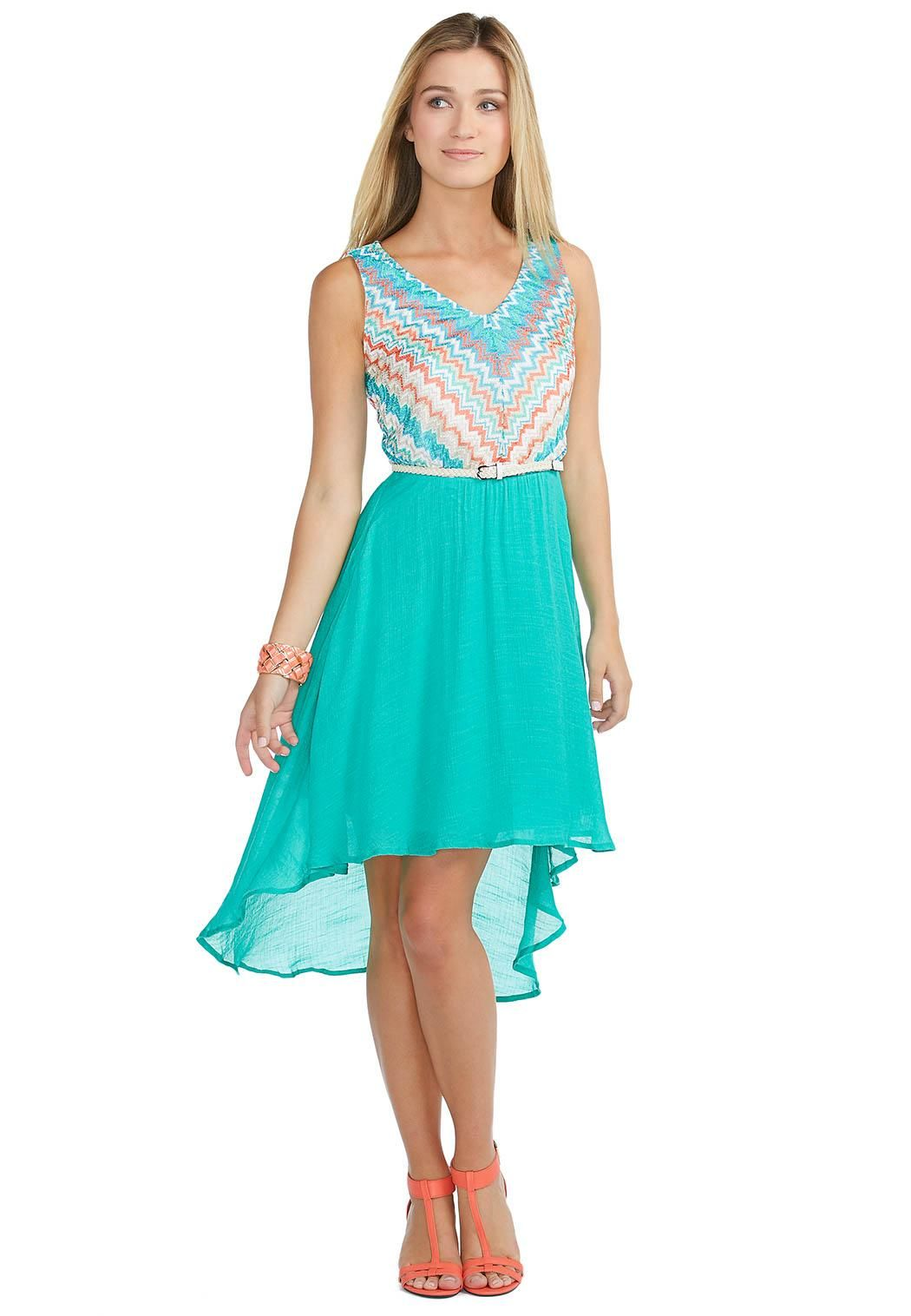 324bbe3447be Chevron High-Low Belted Dress Career Cato Fashions #catosummerstyle ...