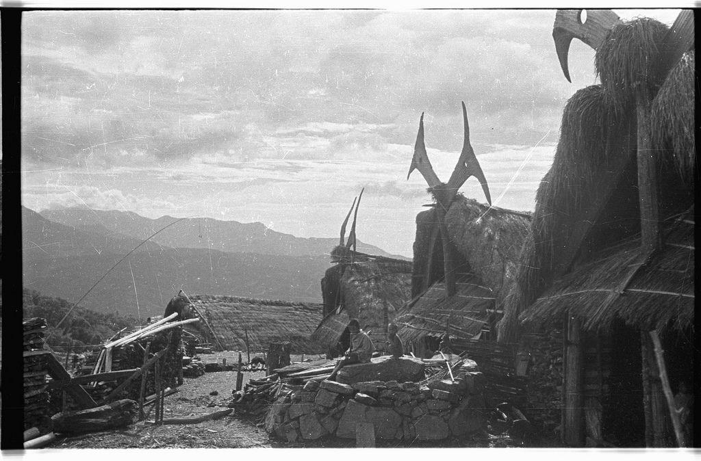 Houses with stylised mithun-horns on the gable   par SOAS Digital Library