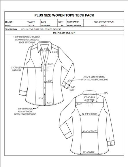 Plus Size Design Detail Sheet Sample Womens Mens Childrens Plus Size Apparel Tech Pack