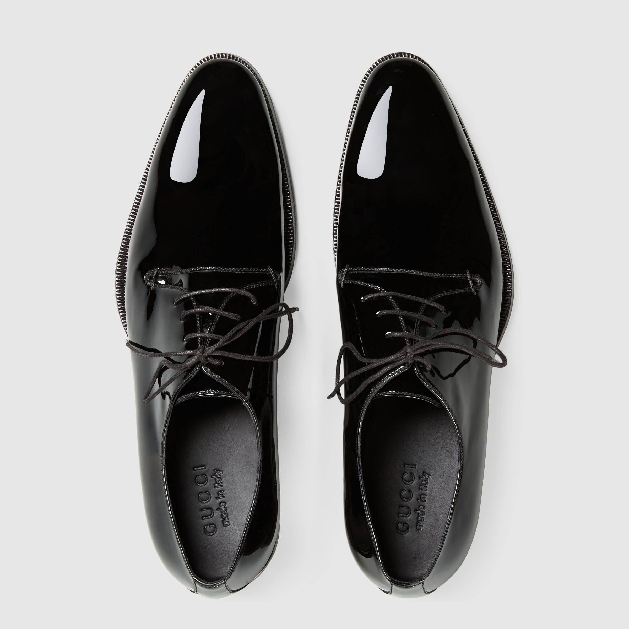 Gucci Patent Leather Lace Up Shoe Formal Shoes For Men Chelsea Boots Men Outfit Dress Shoes Men [ 2400 x 2400 Pixel ]