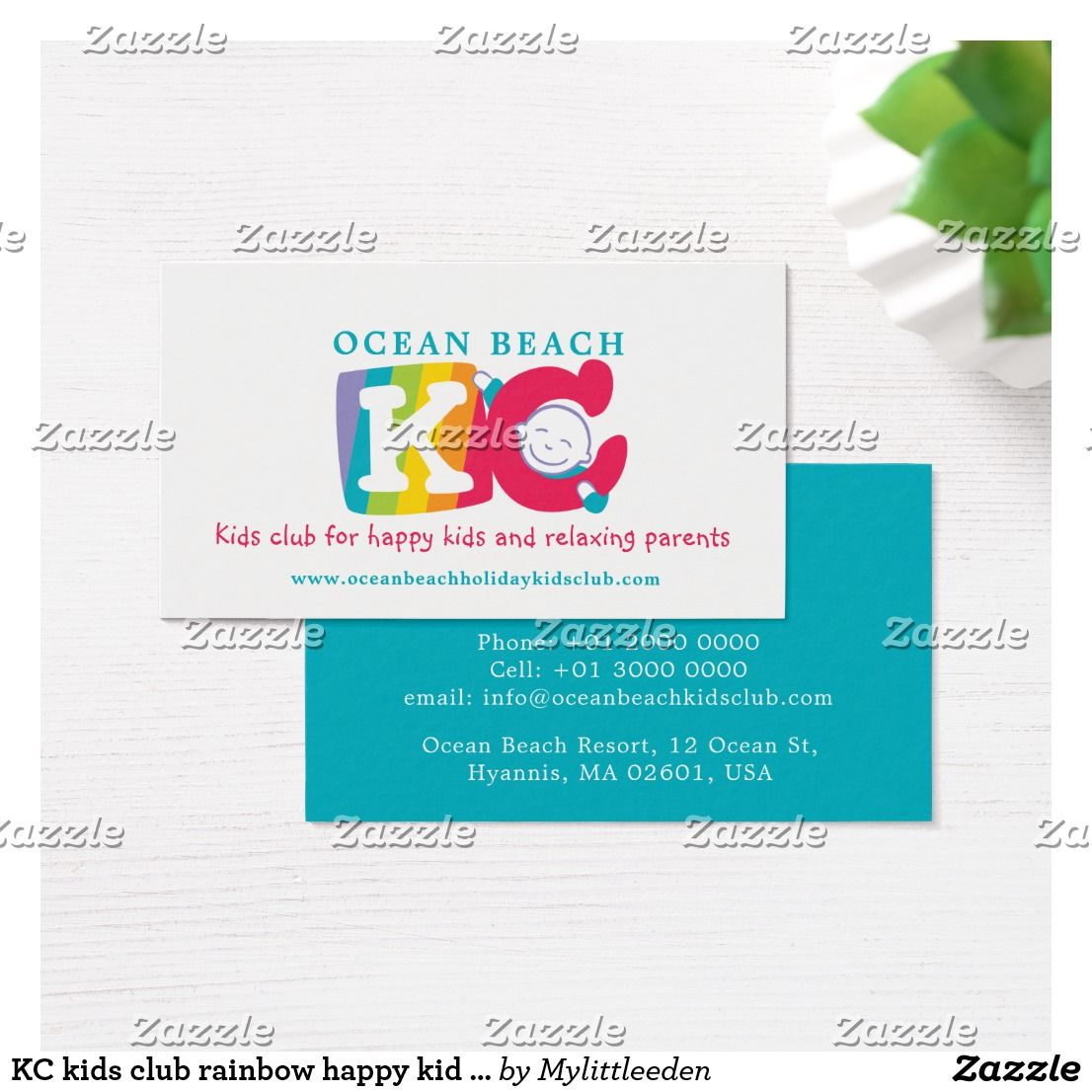 KC kids club rainbow happy kid business card