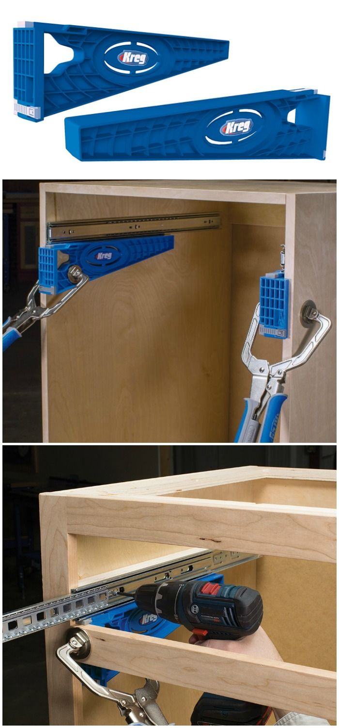 Kreg Drawer Slide Jig Install Drawer Slides The Fast Easy Way For Drawers That Fit Perfectly Every Time And Slide Home Diy Diy Home Improvement Drawer Slides