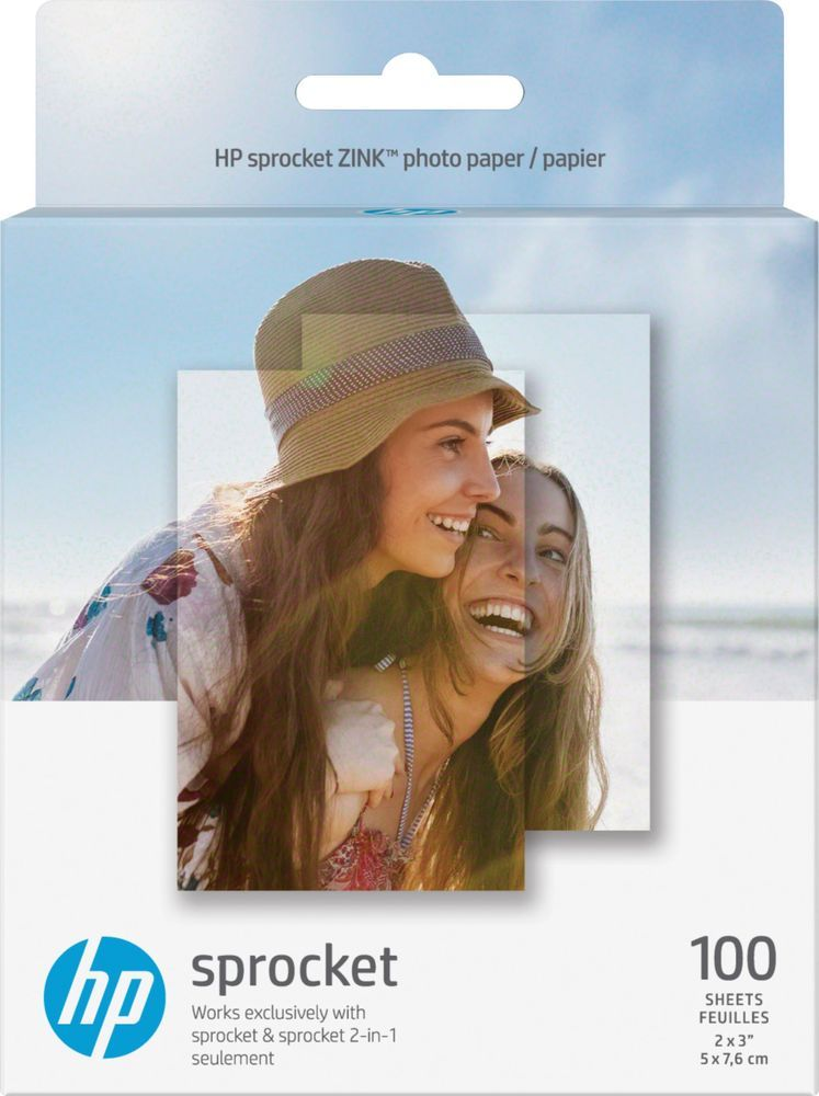 "2 Pack HP ZINK 50-Sheet 2/"" x 3/"" Sticker Photo Paper for Sprocket Photo Printer"
