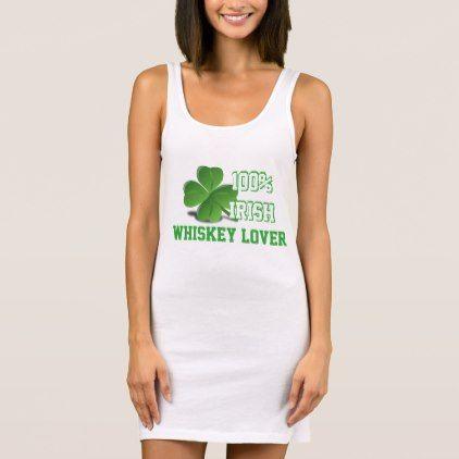 #white - #100% Irish Whiskey Lover St. Patrick's Day White Sleeveless Dress