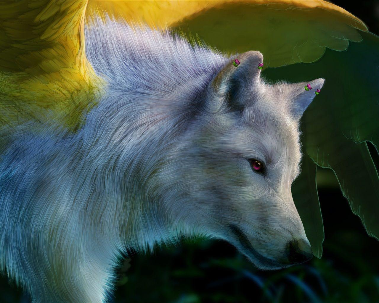 Peinture D Art Loup Blanc Ailes Fonds D Ecran Animales Art De La Peinture Loup Blanc