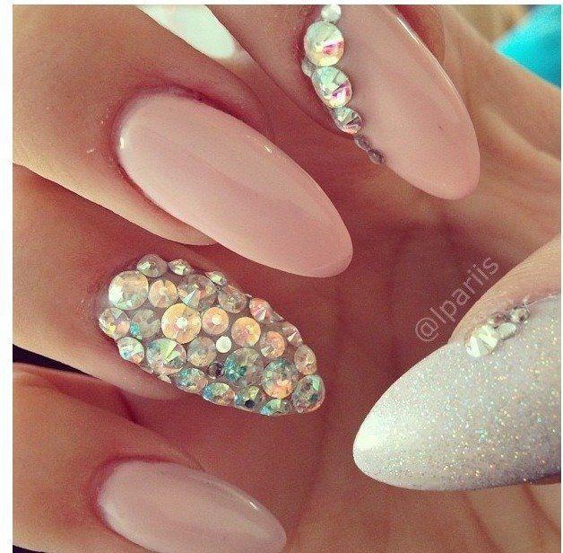 15 Ideas de Diseño de Uñas con Cristales | Crystal nails, Nail ...