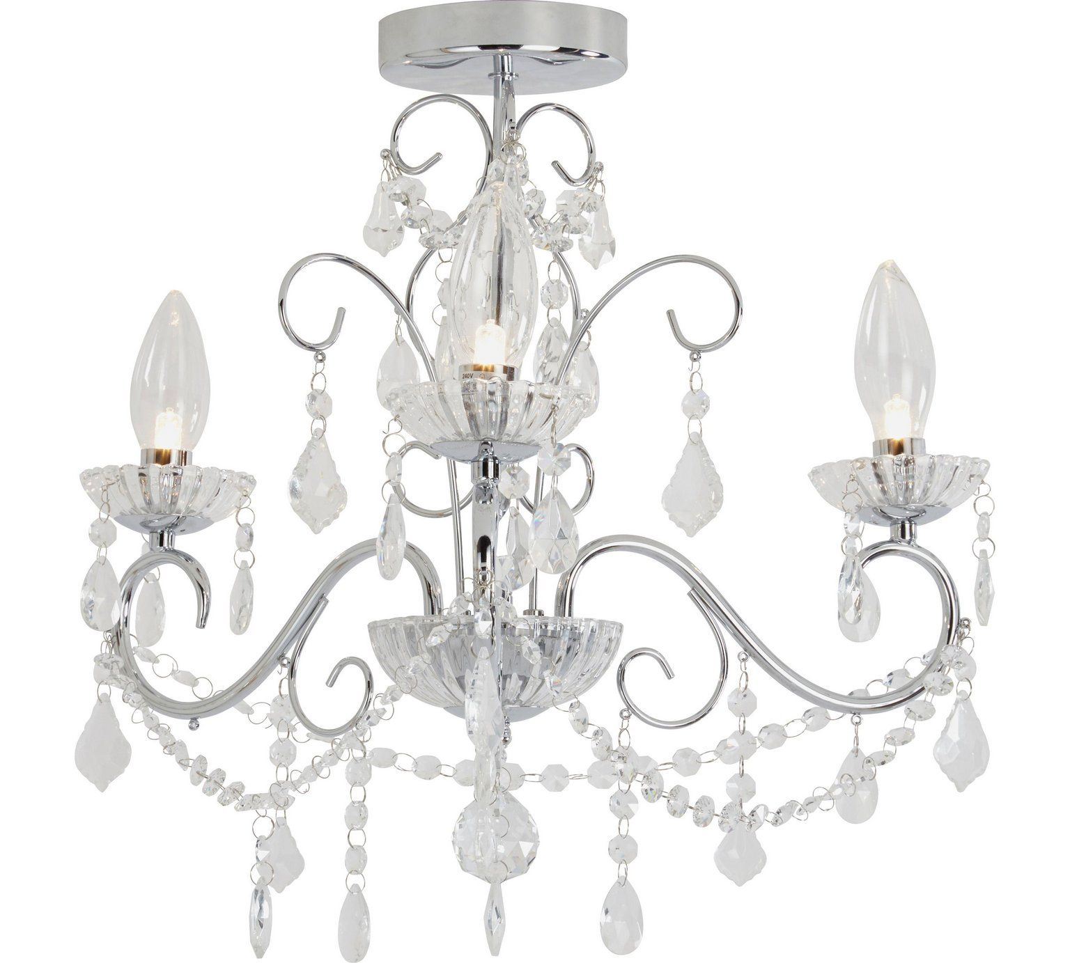 Buy Heart of House Spetses 3 Light Bathroom Chandelier - Chrome at ...