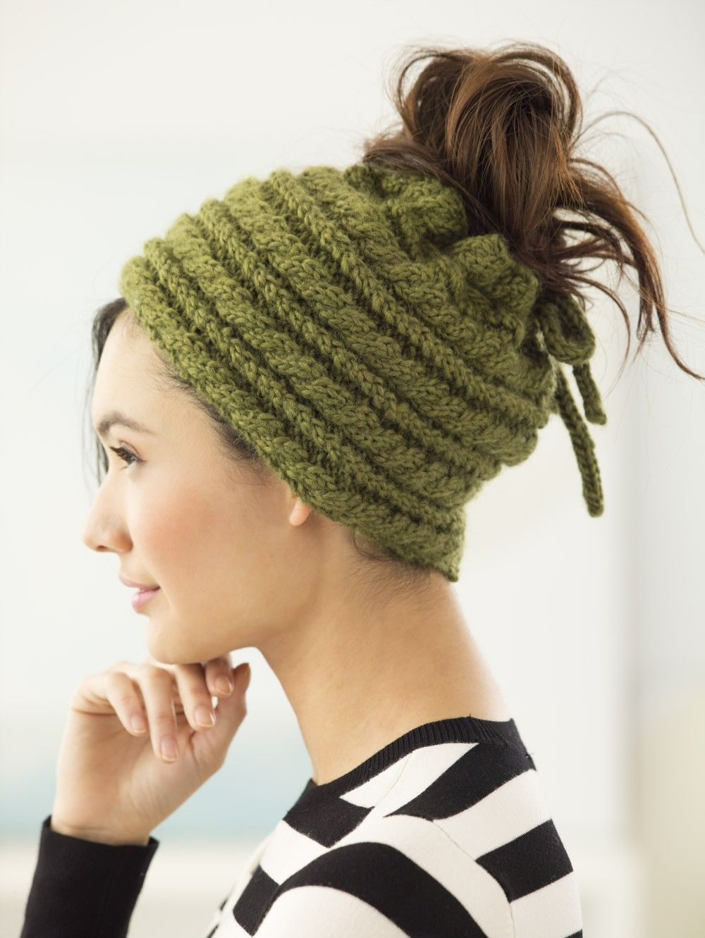 Bun Hat (Knit) - Lion Brand Yarn | Crochet Hats (Buns) | Pinterest ...