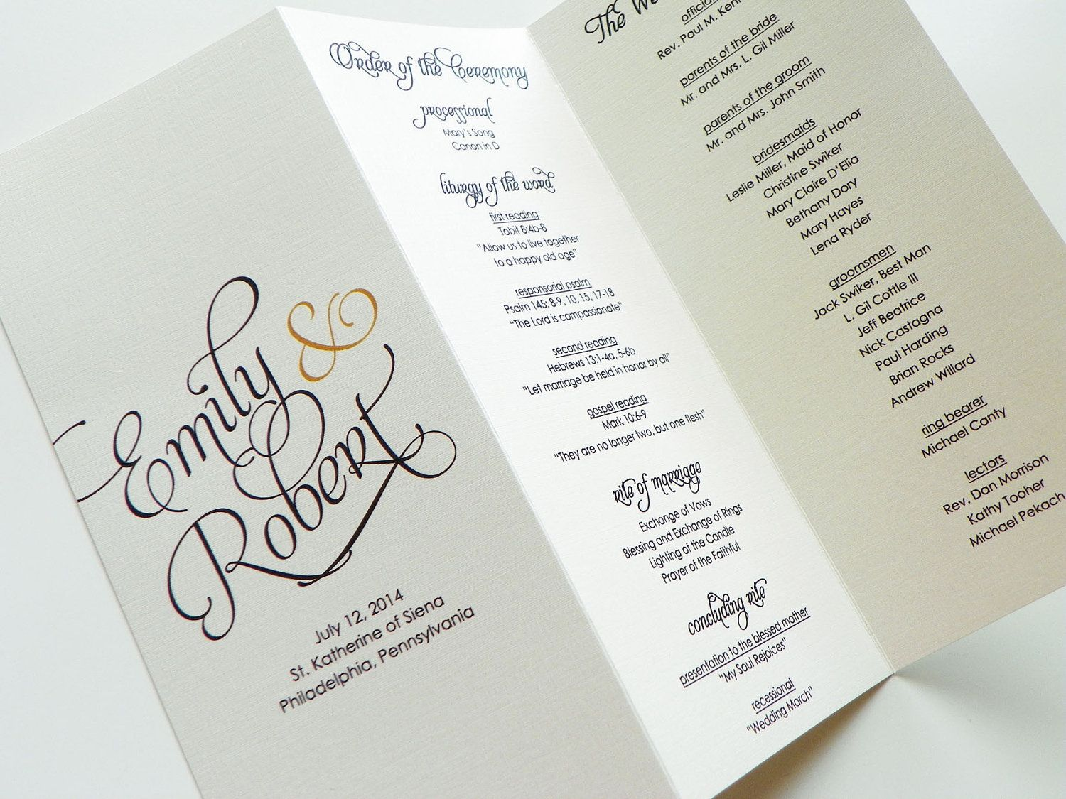 Scripted Pearl Shimmer Trifold Wedding Programs  Wedding