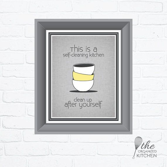 Clean Office Kitchen Signs: Self Cleaning Kitchen Sign / Printable / By