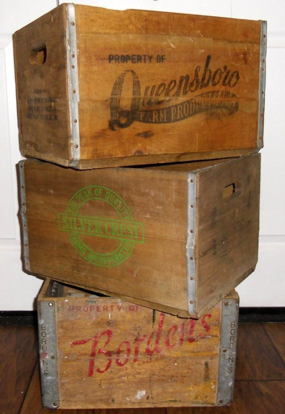 Vintage Wood Crate Bordens Milk Crate Queensboro By Salvagetheory 75 00 Vintage Wood Crates Vintage Wooden Crates Wood Crates
