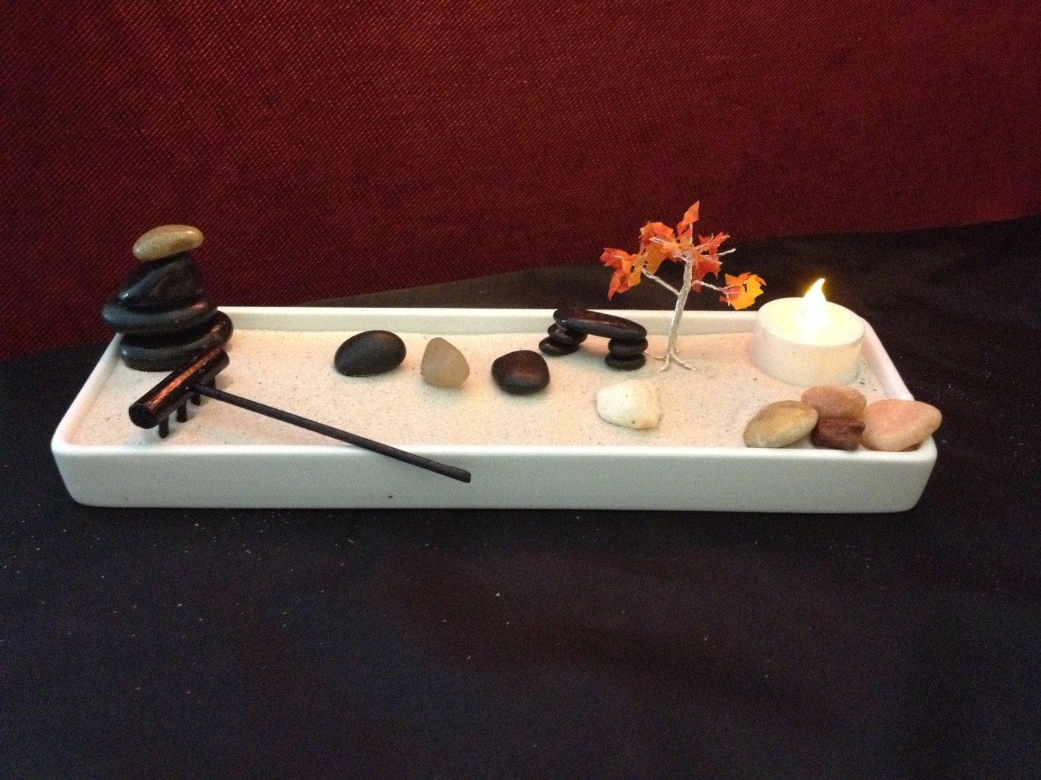 Zen garden with rectangle ceramic container by threestackedstones on