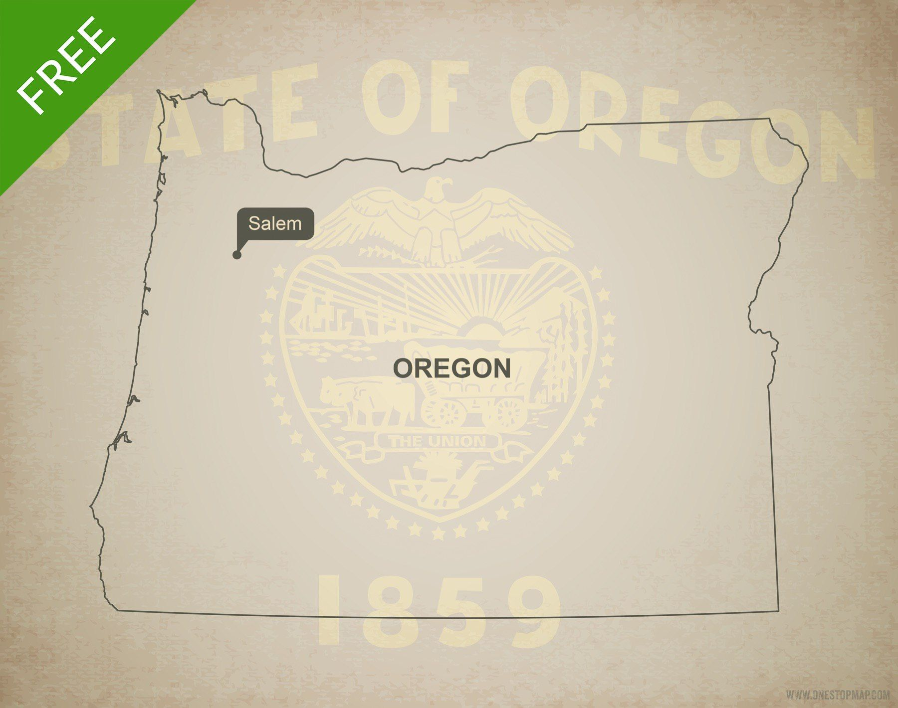 Royalty Free Map%0A Free map of Oregon  blank outline map  Adobe Illustrator AI  EPS  PDF