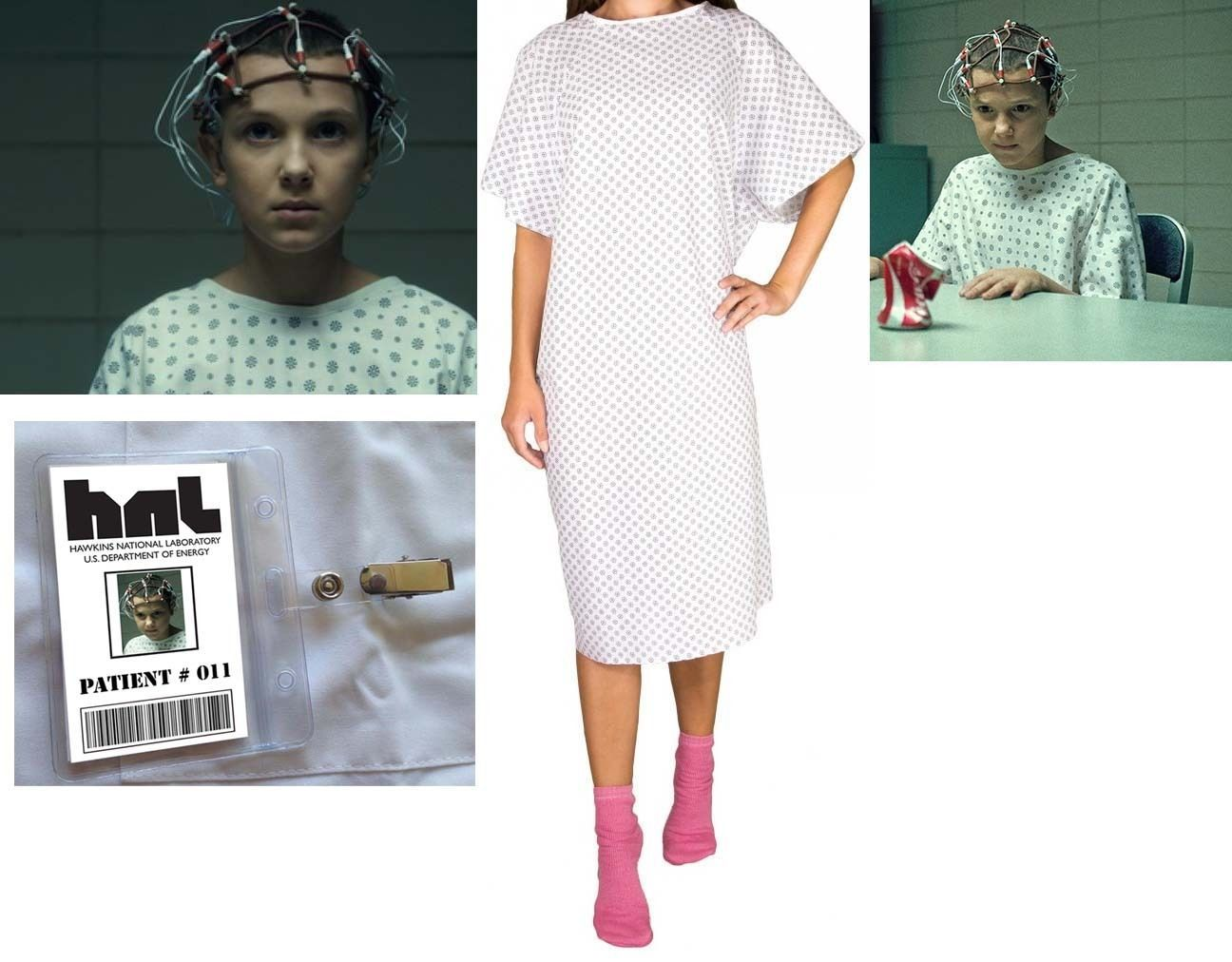 Stranger Things Eleven Elle Hnl Hospital Gown & Badge Costume ...