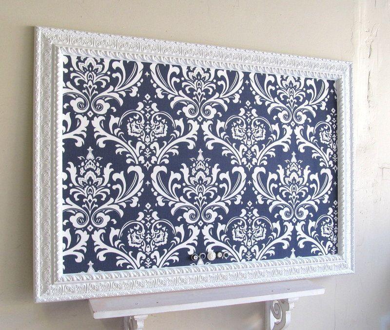 Navy Blue MAGNET BOARD Wedding Escort Card Holder Damask Bulletin Board  Decorative Office Home Decor Framed