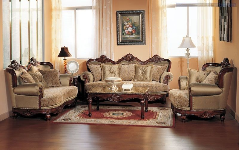 Sofa Set Sofa Loveseat Chair 3pc Traditional Formal Luxury Antique Olive Fabric Living Room Sets Furniture Luxury Furniture Living Room Luxury Living #traditional #living #room #furniture #set