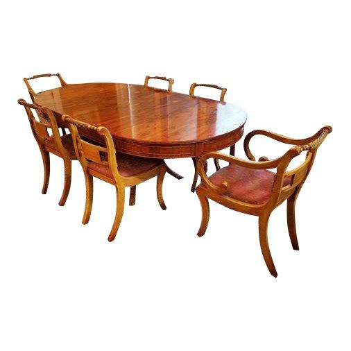 1950s English Yew Mid Century Modern 42 78 Dining Table W 6