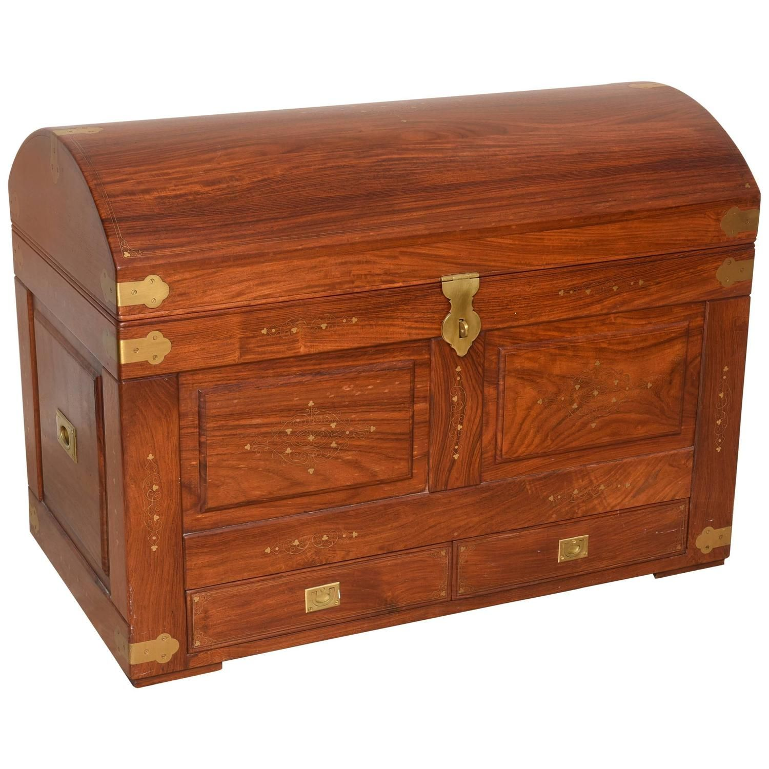 Anglo-Indian Domed Camel-Back Trunk in Teak Wood with ...