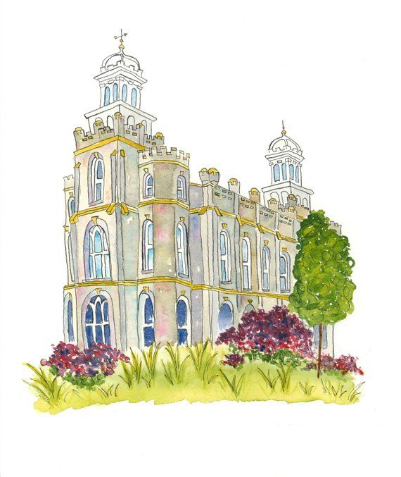 Logan Temple Watercolor In 2019 Logan Temple Watercolor