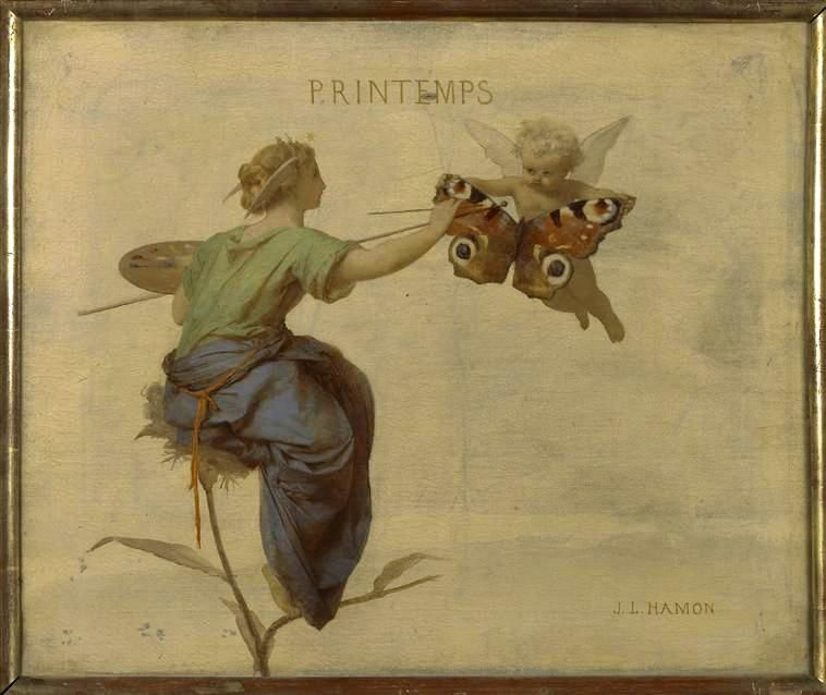 lady painting the wings of a butterfly being held by a cherub Jean-Louis Hamon....1821-1874