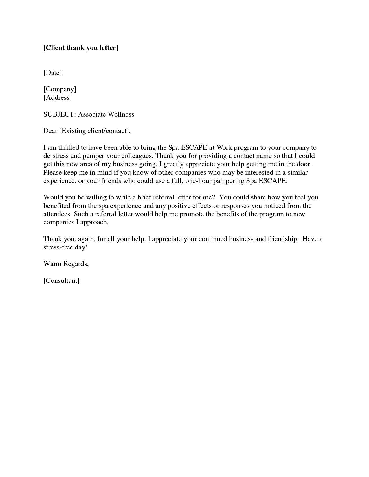 Client Referral Thank You Letter Leterthank Lbartman Com Sample