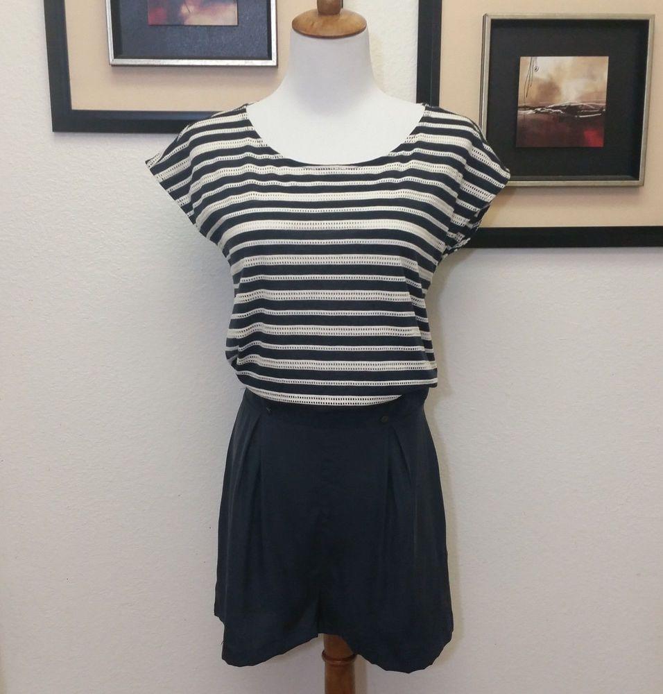 6ef3edf0f97e ⭐Addison Silk Shorts Romper Jumper SMALL Blue White Stripes Open Back NWOT