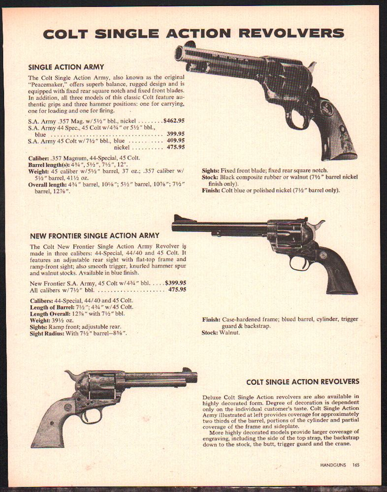 1981 COLT Single Action Army & New Frontier SAA Revolver AD