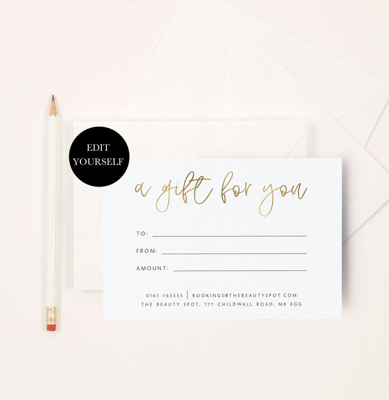 Gift Voucher Design Editable Gift Certificate Download Etsy In 2021 Gift Voucher Design Voucher Design Diy Gift Card