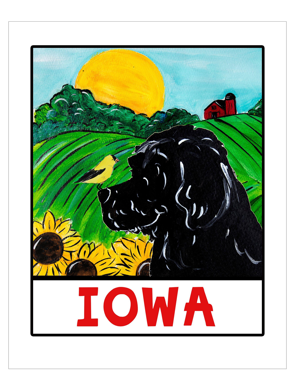 Whimsical Goldendoodle labradoodle black Doodle State