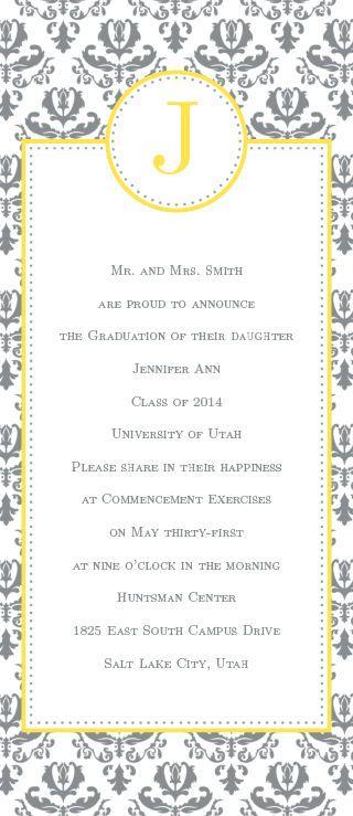 Formal Damask Graduation Announcement Wedding Invitations