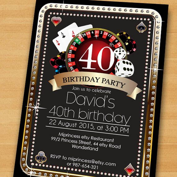 Poker Playing Card birthday invitation Casino theme by miprincess – Casino Themed Party Invitations