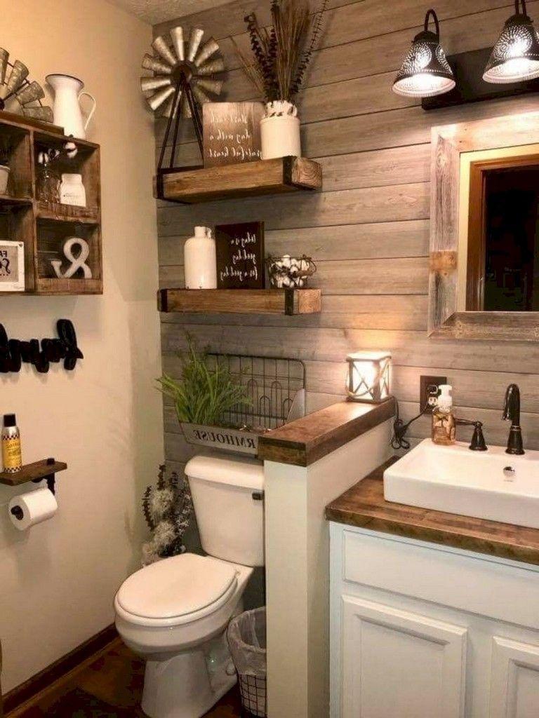 44 Creative Ideas Rustic Bathroom Walls Shelf That Will Make Your