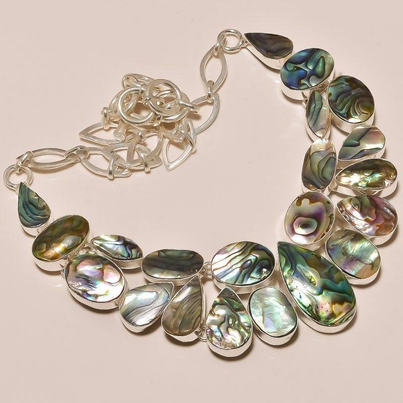 BEAUTIFUL NATURAL ABALONE SHELL 87 GRAM .925 SILVER NECKLACE  #jewelryworld09 #NECKLACE