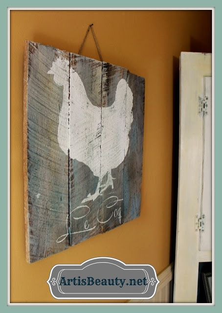 ART IS BEAUTY: French Chicken/Rooster Pallet Art @ http://arttisbeauty.blogspot.com/2013/06/french-chickenrooster-pallet-art.html