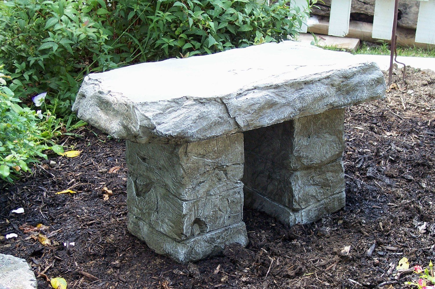 Garden Bench Cast Stone Granite Rock Bench 3 Piece Patio Furniture Concrete