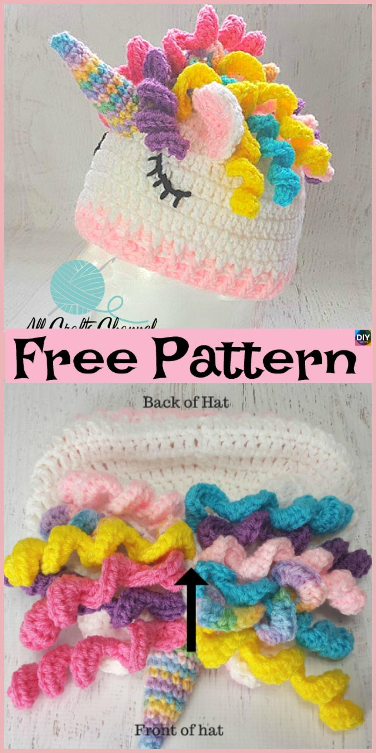 Cute Crochet Unicorn Hat - Free Pattern  freecrochetpatterns  hat  unicorn 0554ba4acd1
