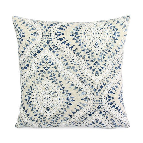 22X22 Pillow Insert Amusing Blue Cream Floral Ikat Pillow Cover 18X18 20X20 22X22  Yes Please Review