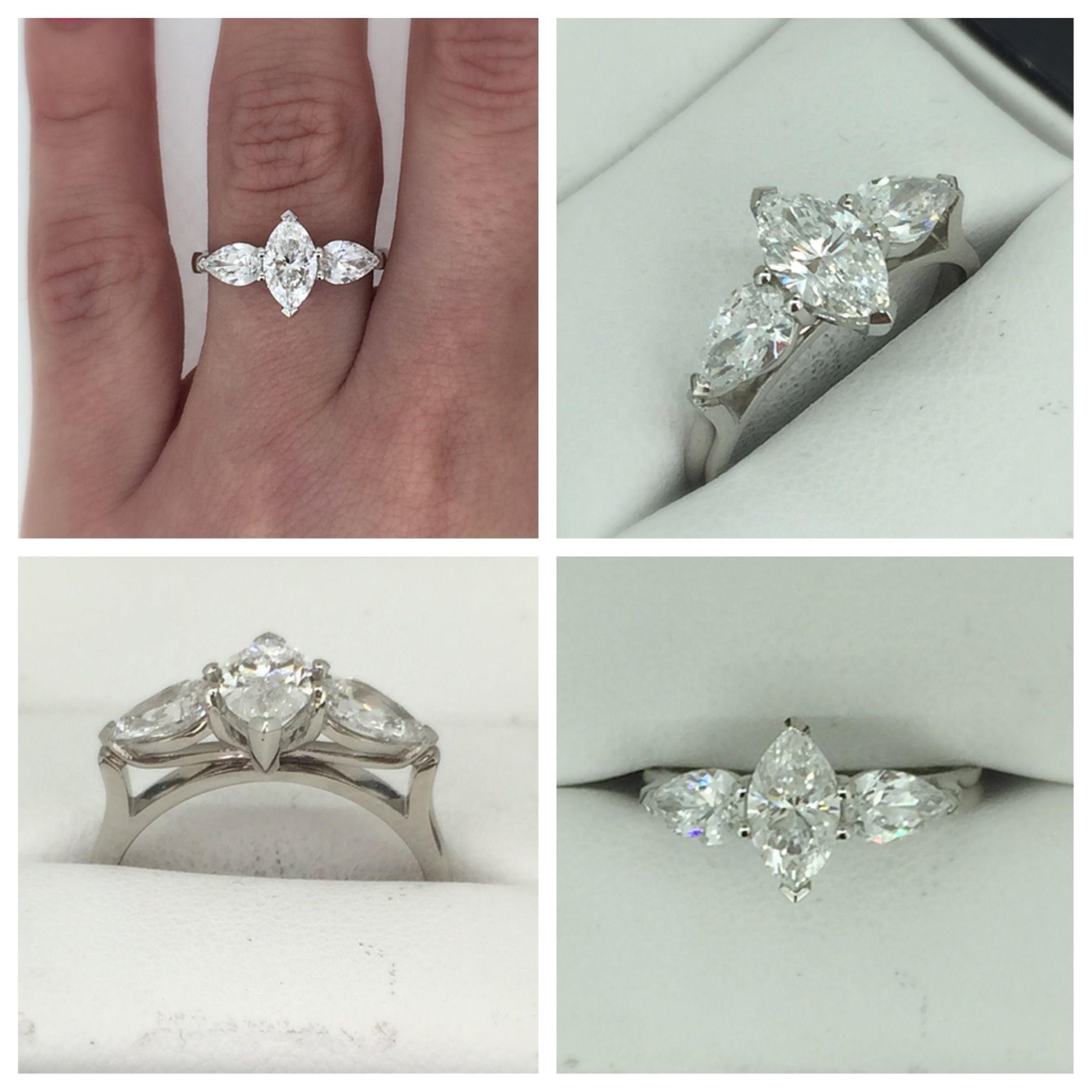 Unique Marquise & Pear Diamond Trilogy Ring