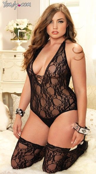 Shop looks like this adorable Plus Size Floral Teddy and Stockings at Yandy. #Yandy