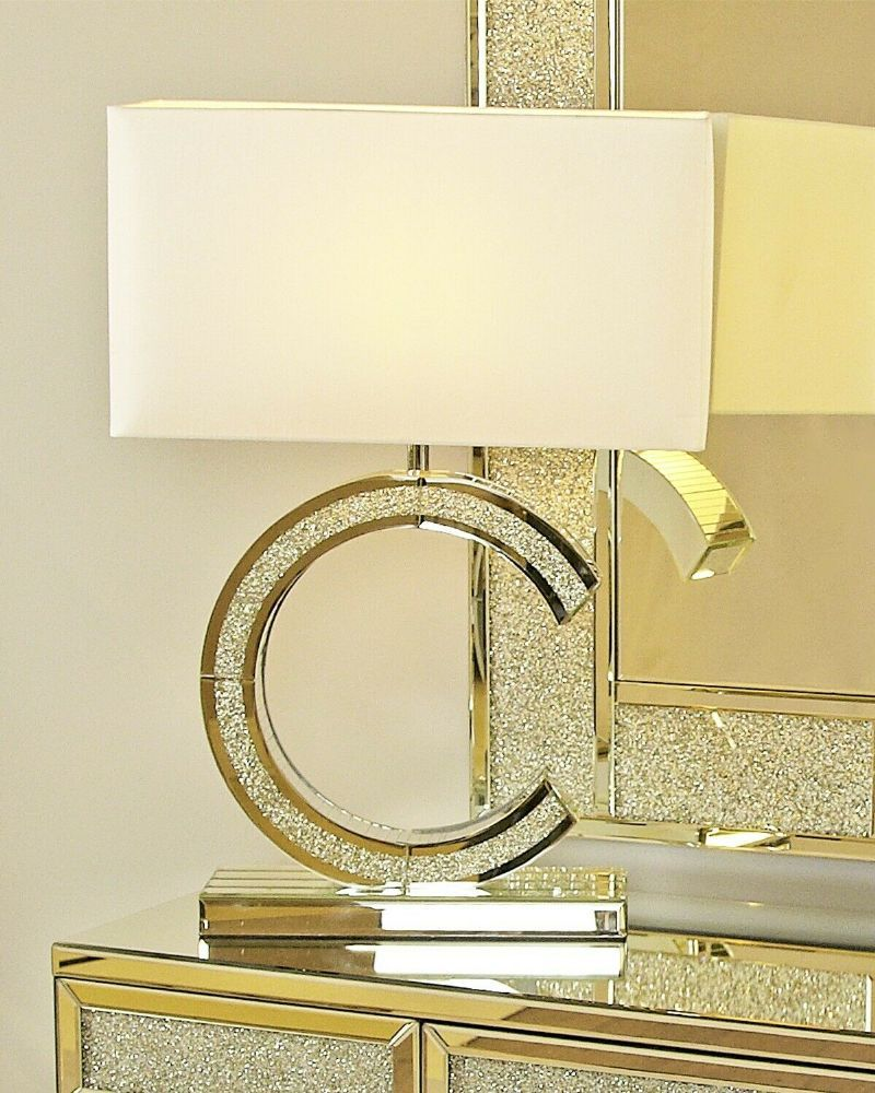 Mirrored C Crushed Glass Table Lamp With White Shade Table Lamp