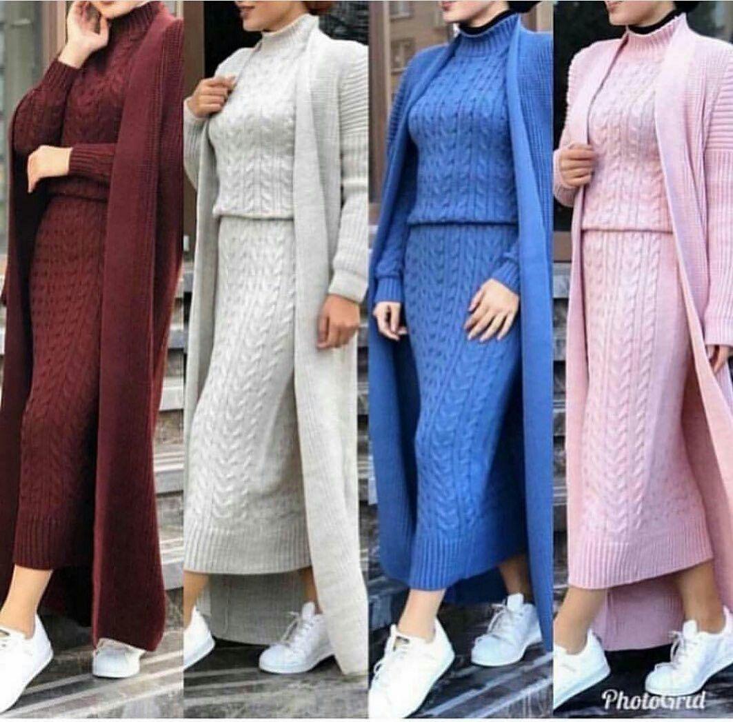 ملابس محجبات صوف 2019 Knit Fashion Street Hijab Fashion Sweater Dress Oversized