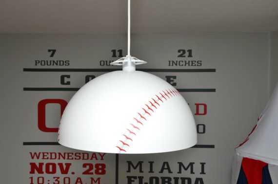 Ikea Hanging Lamp With Our Baseball Theme Decal Also