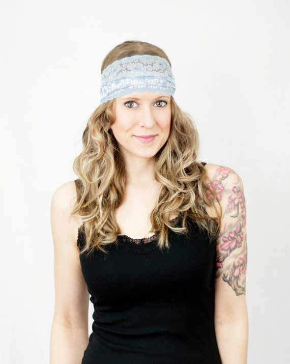 Wide Lace Headband Blue Boho Grey Floral by ForgottenCotton, $15.00 Running Yoga Hair Head Band Covering Stretchy Women