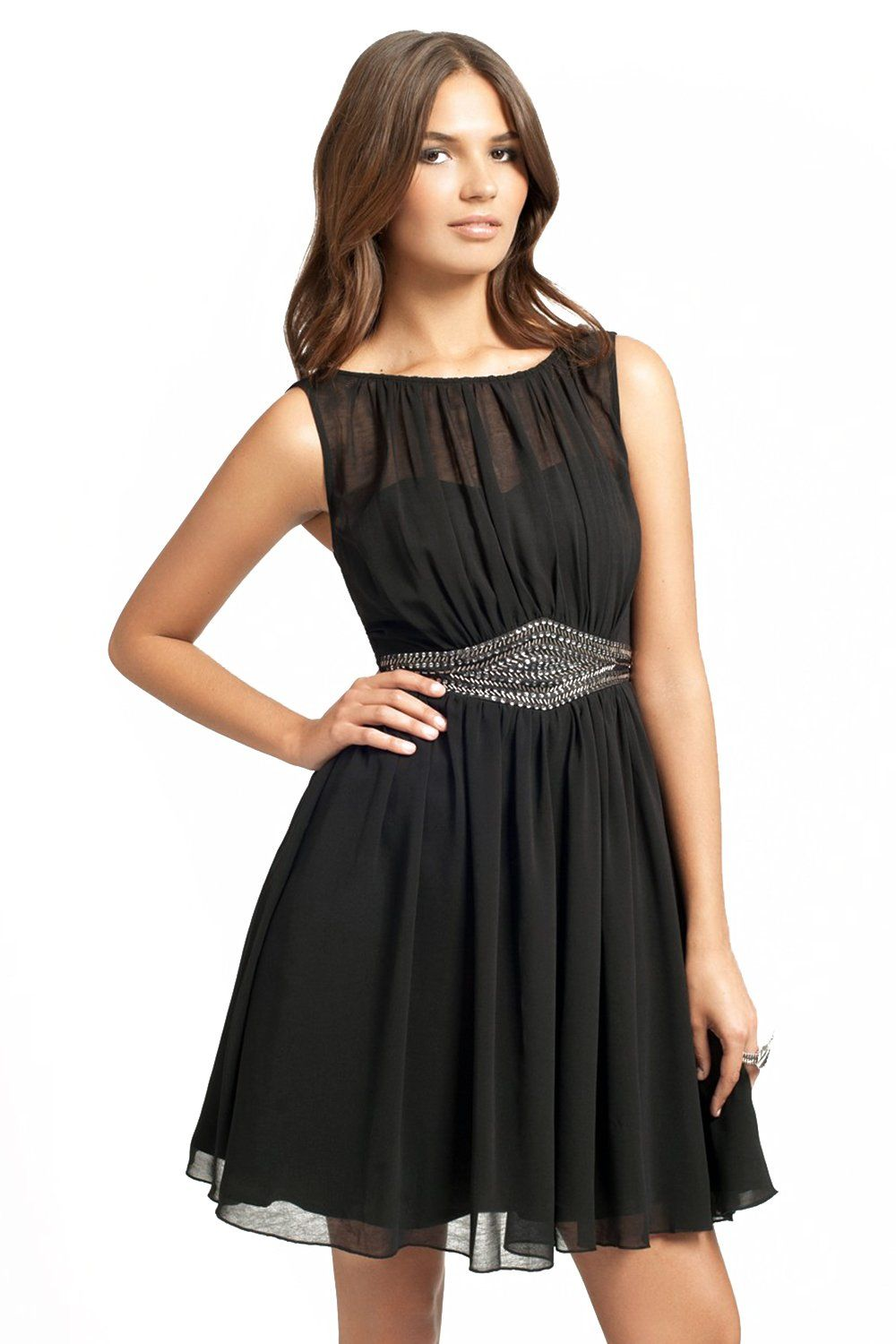 Black chiffon embellished waist prom dress mine pinterest prom