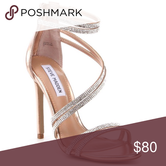 Steve Madden Rose Gold Sweetest Dress Sandal Heels Gorgeous crystal rose  gold heels. Only wore one night 💕✨ perfect for a special event. 85fe9d446408
