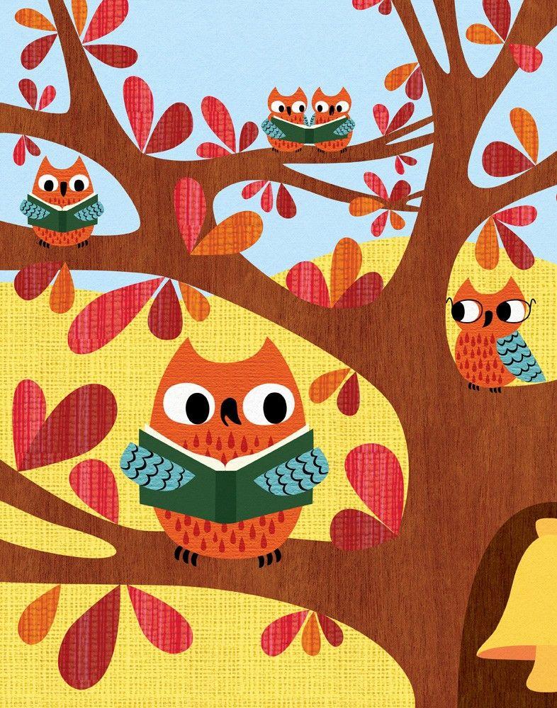 'Owls Reading' by lisadejohn on Etsy