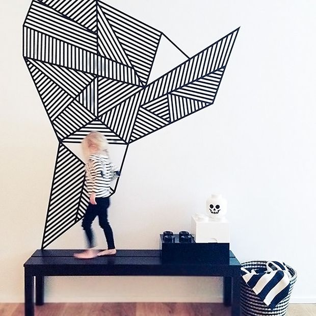 Deco mur avec masking tape diy pinterest peintures for Decoration murale geometrique
