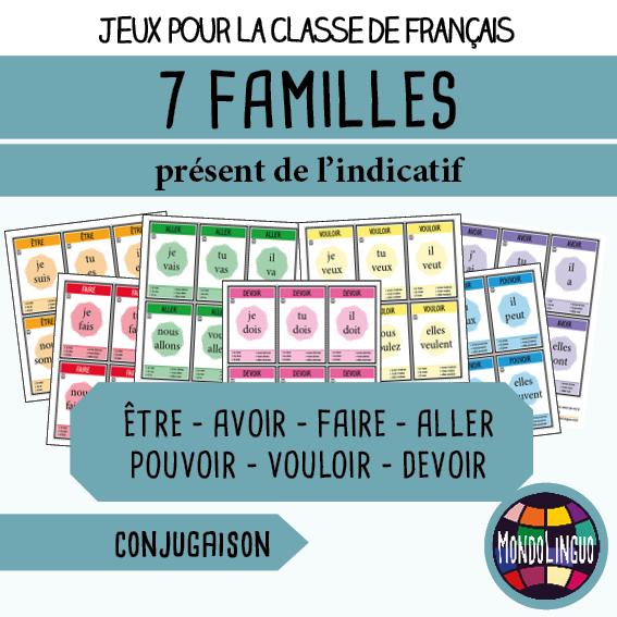 Jeu De 7 Familles Pour La Classe Francais FLE Sur Conjugaison Des Verbes