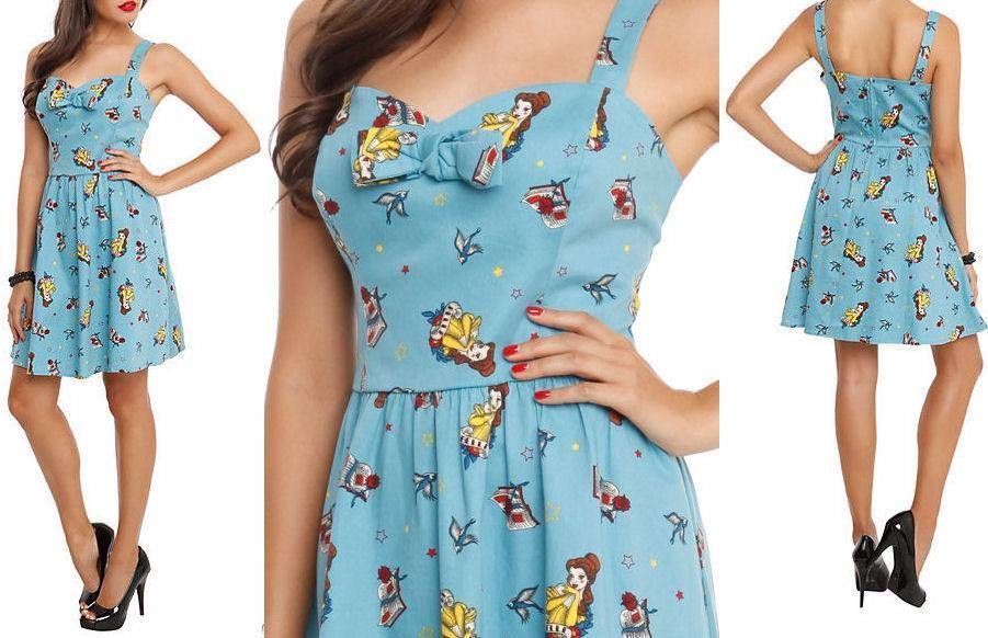 L or XL~Disney~rockabilly~BEAUTY and the BEAST~tattoo~BELLE~retro~blue~SUN DRESS #Disney #Casual